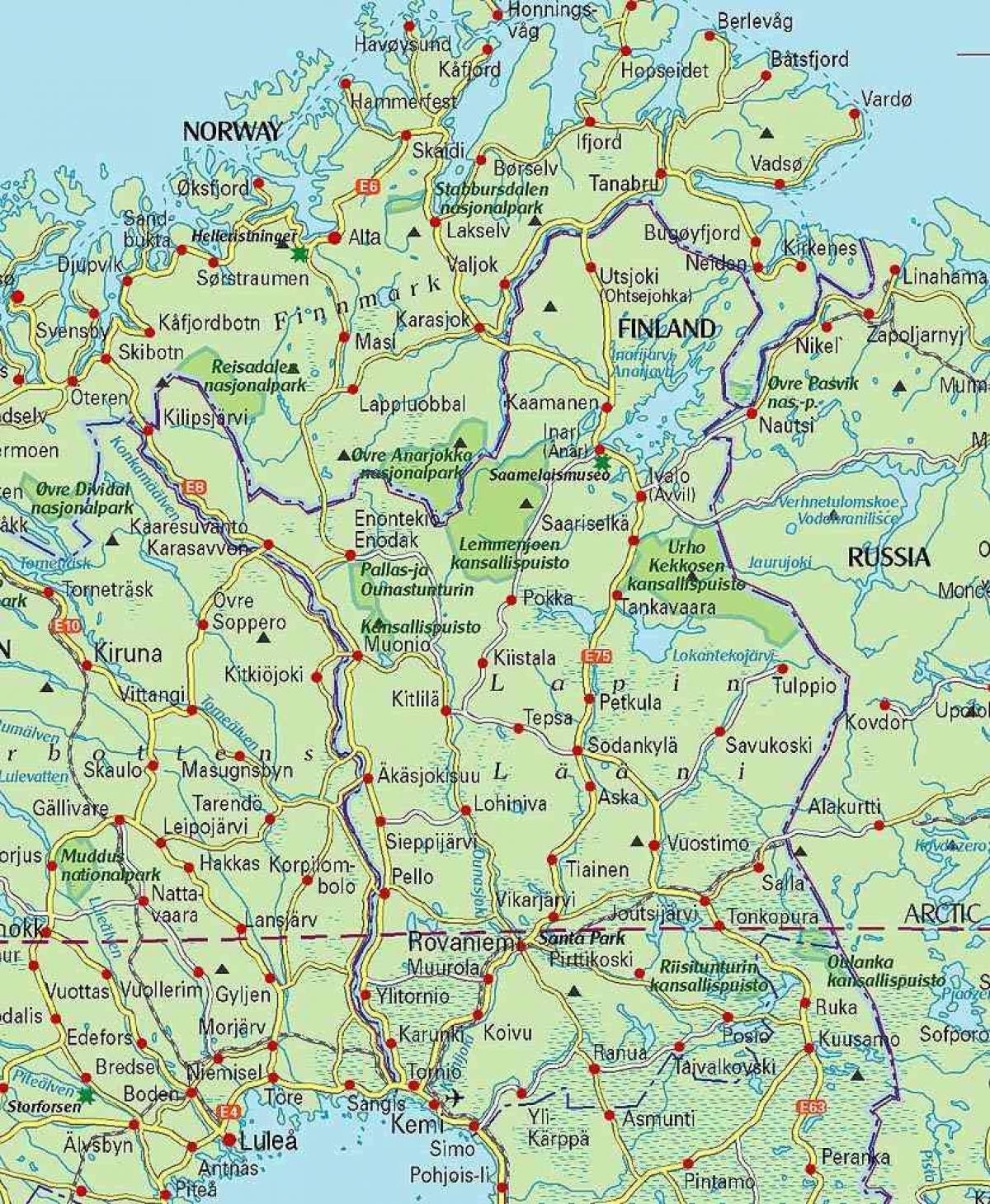 carte de la laponie finlandaise